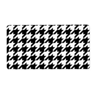 Black and White Houndstooth Personalized Shipping Label