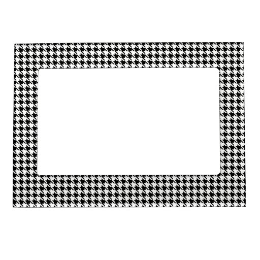Black and White Houndstooth Picture Frame Magnet