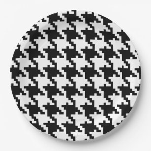 Black and White Houndstooth Paper Plate  sc 1 st  Zazzle & Black Houndstooth Plates | Zazzle