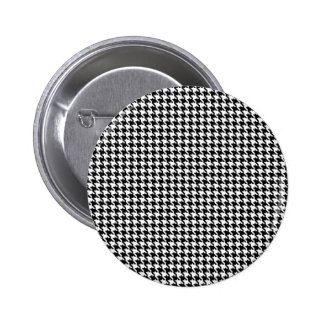 Black and White Houndstooth Pattern 2 Inch Round Button