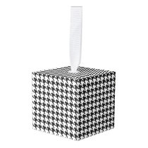 Black and White Houndstooth Pattern Cube Ornament