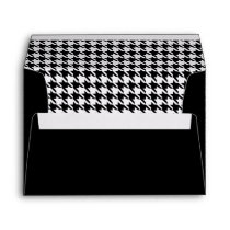 Black and White Houndstooth Pattern Envelope