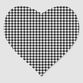 Black and White Houndstooth Pattern Heart Sticker