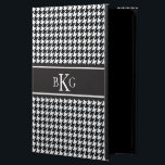 """Black and White Houndstooth Pattern iPad Air Case<br><div class=""""desc"""">Protect your phone or device in style with a simple, elegant, modern and trendy Houndstooth pattern design iPad Air case or cover that is custom monogrammed with your first, middle and last initials in a preppy font. Black and white background contrasted with a Black striped monogram and white initial. Click...</div>"""