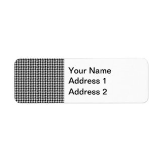 Black and White Houndstooth Pattern Label