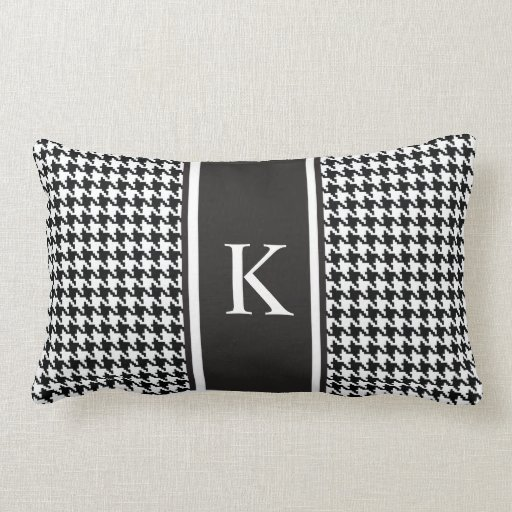 black and white houndstooth pattern lumbar pillow zazzle. Black Bedroom Furniture Sets. Home Design Ideas