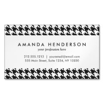 Black and White Houndstooth Pattern Magnetic Business Card