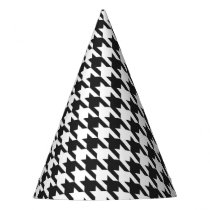 Black and White Houndstooth Pattern Party Hat