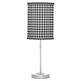 Black and White Houndstooth Pattern Table Lamp