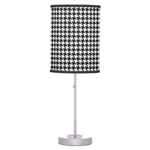 black and white houndstooth pattern table lamp zazzle. Black Bedroom Furniture Sets. Home Design Ideas