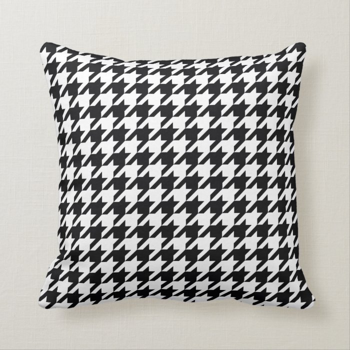 Black And White Houndstooth Throw Pillows : black and white houndstooth pattern throw pillow Zazzle