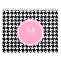 Black and White Houndstooth Pink Monogram Calendar