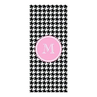 Black and White Houndstooth Pink Monogram Card