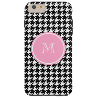 Black and White Houndstooth Pink Monogram Tough iPhone 6 Plus Case