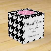 Black and White Houndstooth Pink Monogram Favor Box