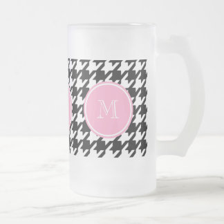 Black and White Houndstooth Pink Monogram Frosted Glass Beer Mug
