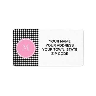Black and White Houndstooth Pink Monogram Label