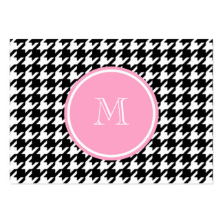 Black and White Houndstooth Pink Monogram Large Business Card