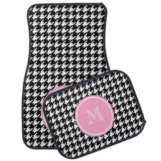 Black and White Houndstooth Pink Monogram Car Mat