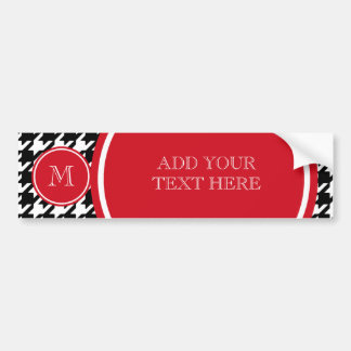 Black and White Houndstooth Red Monogram Bumper Sticker
