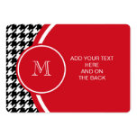 Black and White Houndstooth Red Monogram Business Card