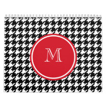 Black and White Houndstooth Red Monogram Calendar