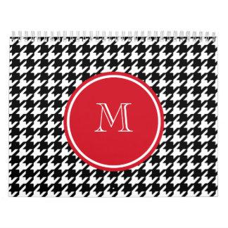 Black and White Houndstooth Red Monogram Calendar