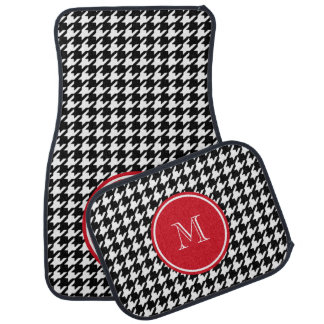 Black and White Houndstooth Red Monogram Car Floor Mat