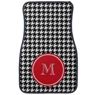 Black and White Houndstooth Red Monogram Car Mat