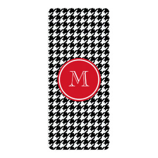 Black and White Houndstooth Red Monogram Card