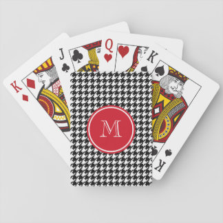 Black and White Houndstooth Red Monogram Card Decks