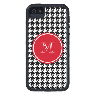 Black and White Houndstooth Red Monogram Cover For iPhone 5