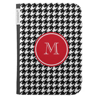Black and White Houndstooth Red Monogram Cases For The Kindle