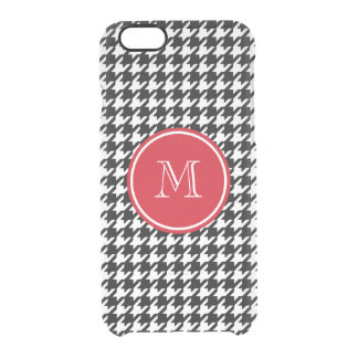 Black and White Houndstooth Red Monogram Clear iPhone 6/6S Case
