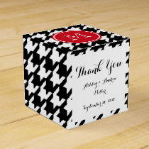 Black and White Houndstooth Red Monogram Favor Box