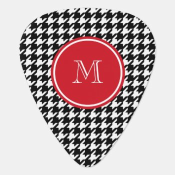 Black And White Houndstooth Red Monogram Guitar Pick by GraphicsByMimi at Zazzle