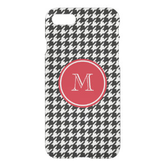 Black and White Houndstooth Red Monogram iPhone 7 Case