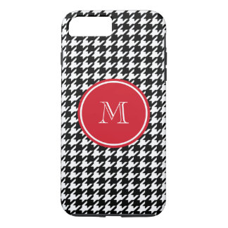 Black and White Houndstooth Red Monogram iPhone 7 Plus Case