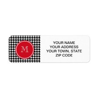 Black and White Houndstooth Red Monogram Label