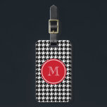 """Black and White Houndstooth Red Monogram Luggage Tag<br><div class=""""desc"""">Classic, elegant, black and white houndstooth pattern is a paired with a red circle tag with your initial on it in white text in an elegant font. GraphicsByMimi&#169; Personalize this bold, stylish, girly dog tooth check pattern design with your monogram, text, initial or name. Use the template field or use...</div>"""