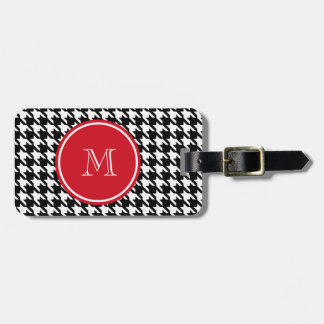 Black and White Houndstooth Red Monogram Luggage Tags