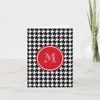 Black and White Houndstooth Red Monogram Note Card