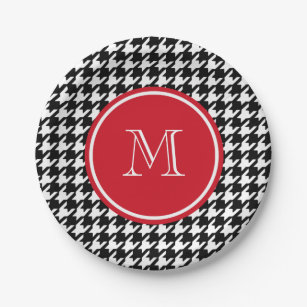 Black and White Houndstooth Red Monogram Paper Plate  sc 1 st  Zazzle & Houndstooth Plates | Zazzle