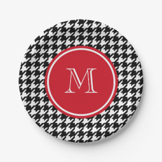 Black and White Houndstooth Red Monogram Paper Plate