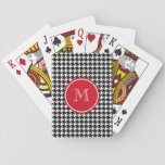 """Black and White Houndstooth Red Monogram Playing Cards<br><div class=""""desc"""">Classic, elegant, black and white houndstooth pattern is a paired with a red circle tag with your initial on it in white text in an elegant font. GraphicsByMimi&#169; Personalize this bold, stylish, girly dog tooth check pattern design with your monogram, text, initial or name. Use the template field or use...</div>"""
