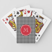 Black and White Houndstooth Red Monogram Playing Cards