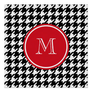 Black and White Houndstooth Red Monogram Poster