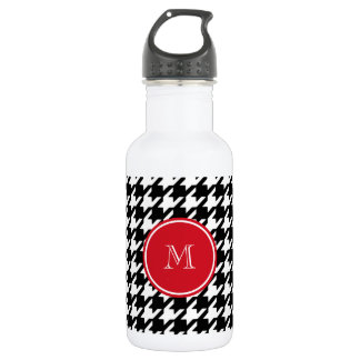 Black and White Houndstooth Red Monogram Water Bottle