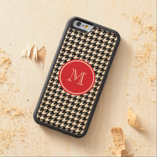 Black and White Houndstooth Red Monogram Carved® Maple iPhone 6 Bumper