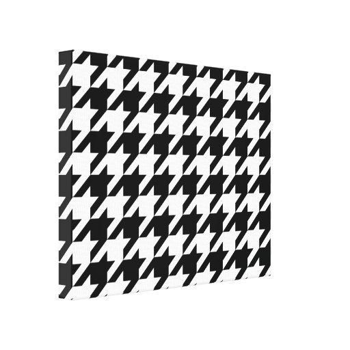 Black and White Houndstooth Stretched Canvas Print